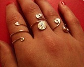 Wire Wrapped Silver Rings Spiral Double Triple Adjustable