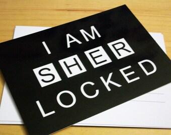 Sherlock Postcard- I Am Sher Locked