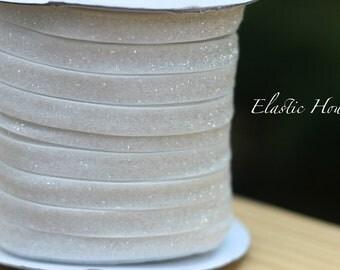 """3/8"""" Glitter Elastic  - White Color - White Glitter Elatic- White Velvet Glitter Elastic - Glitter Elastic - Hair Accessories Supplies"""