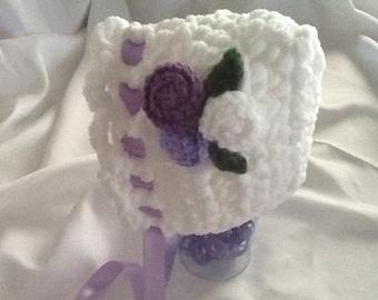 Baby Crocheted Bonnet - Soft Chucky White w/ Purple Flowers