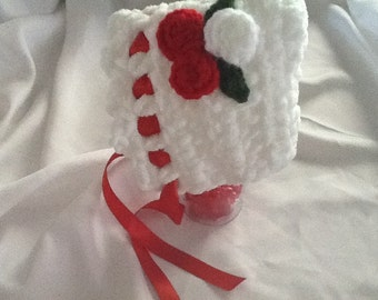 Baby Crocheted Bonnet -  Soft Chunky White w/ Red Flowers