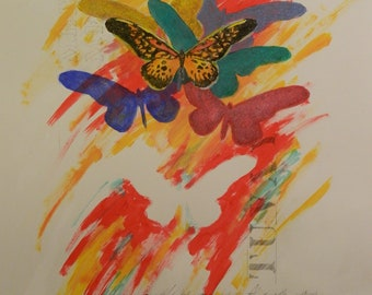 Original Modern Painting with Stencils and Butterflies