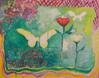 Original Painting with Rose and Butterflies