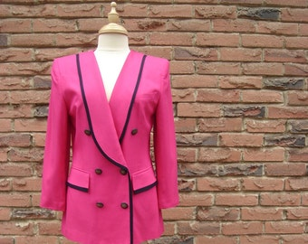 Hot Bright Pink Jacket Double-Breasted with a Tuxedo- Collar