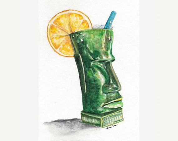 Beach house art - 5x7 matted print of original watercolor - tropical green Polynesian tiki mug