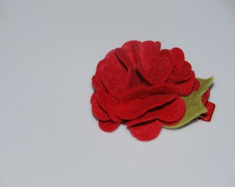 X-Large Strawberry Red Felt Frilly Carnation Hair Clip / Adult Hair Clip / Toddler Hair Clip / Felt Hair Clip