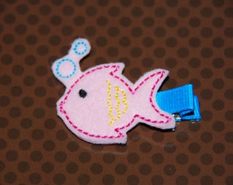 Felt Embroidered Summer Fish Hair Clip / Toddler Hair Clip / Summer Hair Clip