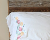 Vintage Standard Pillowcase - White and Floral Hand Embroidered