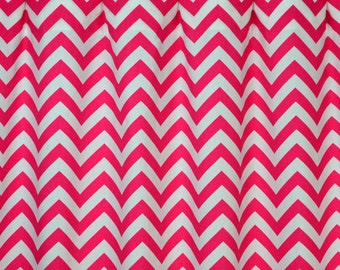 Hot Candy Pink White Chevron Zig Zag Modern Curtains - Grommet - 84 96 108 or 120 Long by 25 or 50 Wide Optional Blackout or Cotton Lining