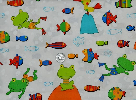 Frogs gone fishing fabric by the yard for Fish fabric by the yard