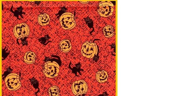 Boo Hollow 2006 THIMBLEBERRIES Cat Fabric Out of Print Kitty Halloween orange Pumpkin black spooky Autumn Fall FQ