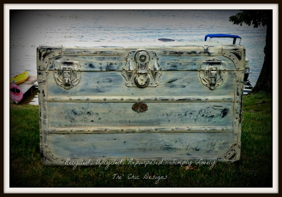 Antique Distressed Wood And Steel Steamer Trunk With Vintage Decoupaged Paper Lining Shabby Chic Chalk Paint