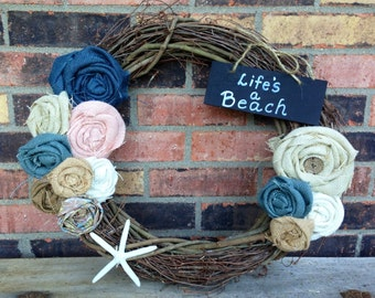Burlap Beach Wreath