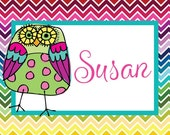 Set Of 2 Preppy Bag Luggage Tags Owl -Baby Bag Tag, Personalized Bag Tags, Custom Diaper Bag Tag
