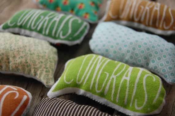 Reserved for Mollie - Mini Pillow Greetings - CONGRATS - Screen Printed Pocket Pillow - Cute Miniature Plush Fun Gift Pin Cushion