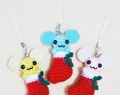 Crocheted  Christmas Mouse on  Socks - set of 3
