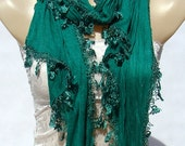 Cotton green scarf, casual cotton wrinkle scarf, lace tassels scarves, thin and soft long scarf, lightweight breathable