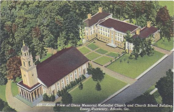 DO NOT BUY ----- Reserved for Cherie4e - Emory University, Ga, Glenn Methodist Church and Church School Building, Vintage Linen Unused