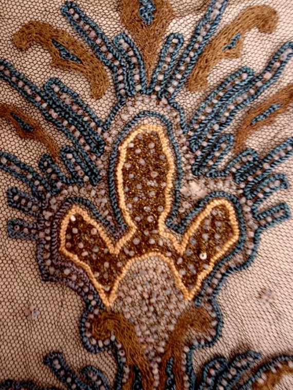 Antique Deco Tambour Bead Silk Net Embroidery Fragment