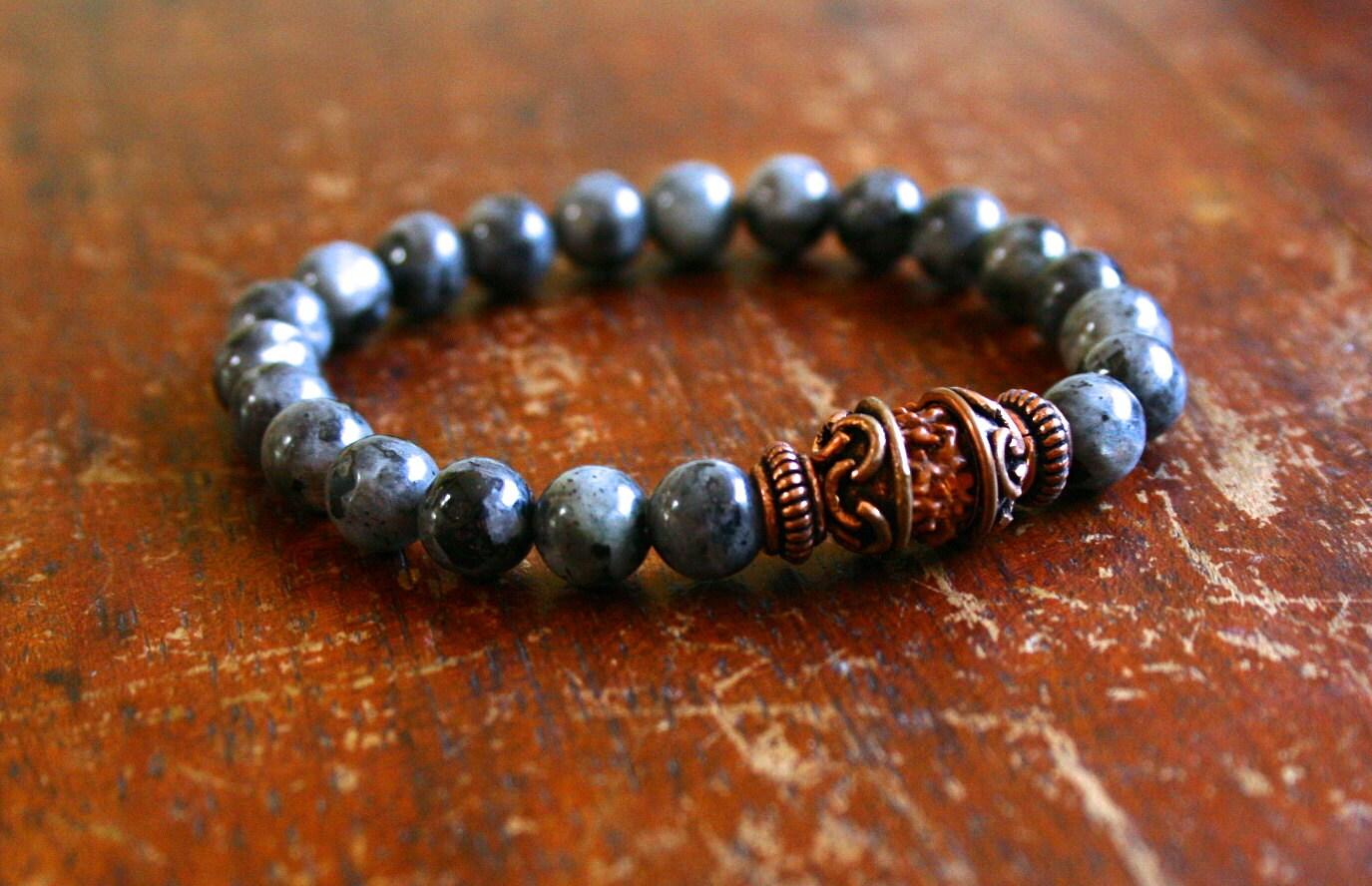 mens beaded mala bracelet meditation jewelry blue