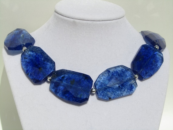 Crystal Statement Necklace, Blue Marbled Crystal Quartz Faceted Slab Nuggets   065