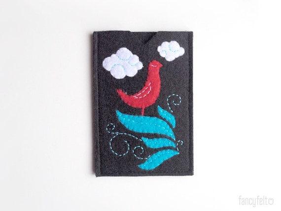 Black felt iPhone case with red bird