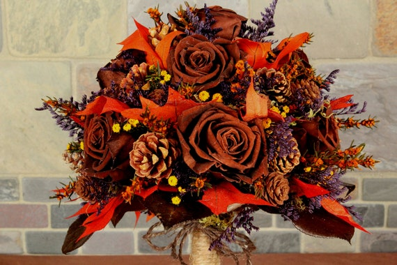 Sample sale fall wedding bouquet and by smokymtnwoodcrafts for Fall wedding bouquets for sale