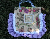 Sweet Vintage Inspired Romatic Purse, Ruffles, Roses and Pearled Trims,Leather,Buttons