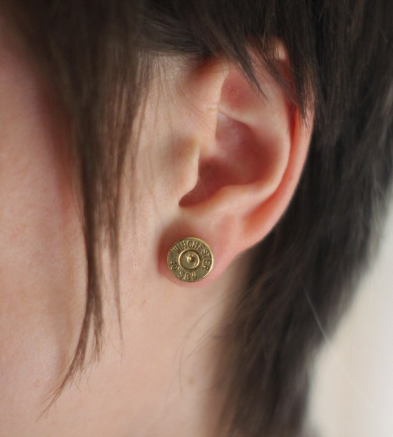 Bullet Earrings Jewelry - Brass .40 cal Bullet Studs