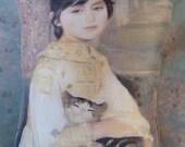 Renoir Cat with Girl Pillow 11 x 8