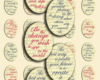Instant Download - Inspirational/Motivational Quotes - 30 x 40 mm - JPG & PNG format - Digital Collage Sheet - Oval shape