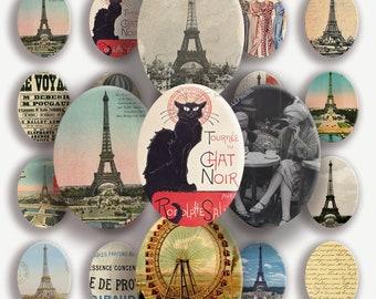 Instant Download - PARIS - 30x40 mm ovals - Digital Collage Sheet - PNG&JPG images