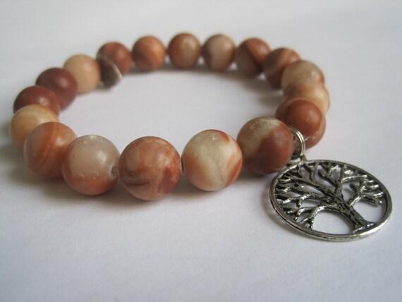 Red Malachite Stone : Red malachite gemstone stretch beaded bracelet w tree of