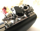 17 x 10 cm Rectangular Dressing Case and Nickel Metal Purse Frame with Skull and Black Faceted Rhinestone Clasp Clip - 1pc