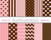 Peachy Pink & Brown Digital Paper for Girls - peach pink chocolate brown polka dot chevron flower striped scrapbook background