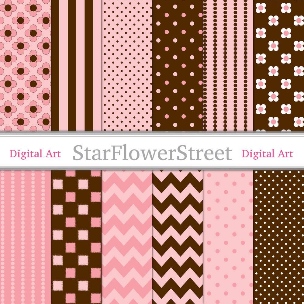 Peachy pink amp brown digital paper for girls by starflowerstreetda