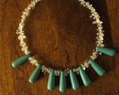 Chalk turquoise and resin bead bib necklace