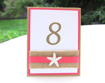 4 Wedding Table Number Cards, Double Sided, Burlap, Starfish and Elegant Pearl, Customize Any Color