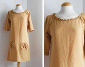 Handmade New Dress made with vintage fabric / 60s style / Ruffles and Bows / Spring Summer Clothing / Size M