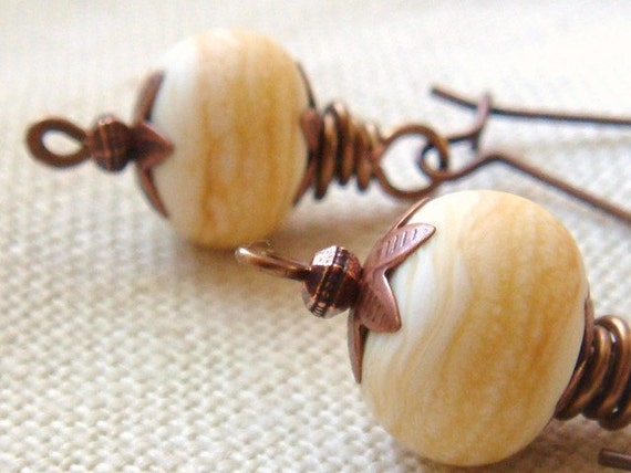 Ivory And Copper Earrings Handmade Lampwork Glass Beads Rustic Copper Star Bead Caps