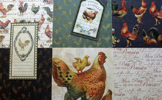 Rooster Provincial collection 6x6 paper pack by Recollections Signature 46 sheets