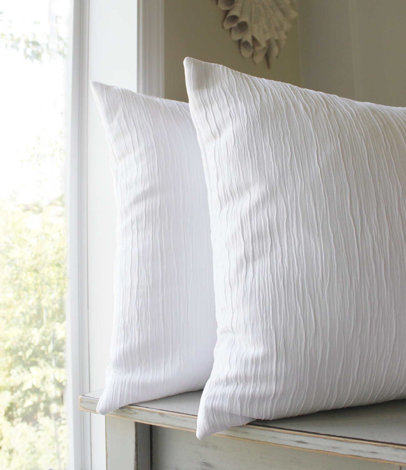 Throw Pillow White : 2 Solid White Pillow Covers Textured Throw Pillows White