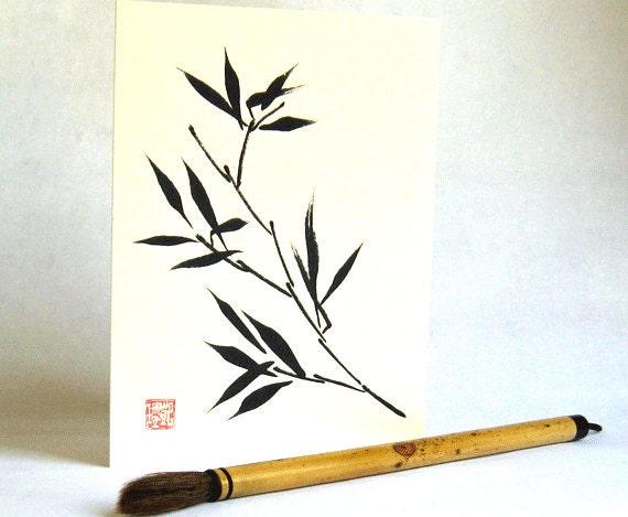 Ink Bamboo Blank 5x7 Greeting Card