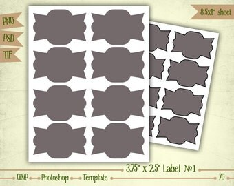 Labels - Shape 1 - Digital Collage Sheet Layered Template - (T070)
