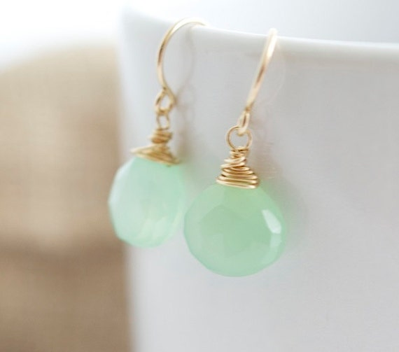 Green Chalcedony Earrings - Wire Wrapped Earrings