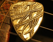 Artisan Embossed Brass Fire Guitar Pick ... Bright & Smooth ... Free Worldwide Shipping