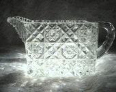 Vintage Cut Glass Creamer Pitcher Diamond Crystal Cut Rare Rectangular Shape