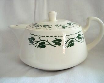 Vintage Teapot Homer Laughlin Ivy Tea Pot 1950s Mid-Century Modern Retro Vintage