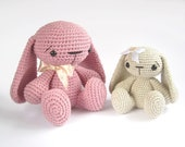 Crochet toy PATTERN - Amigurumi tutorial - Bunny rabbit with floppy ears - Stuffed animal - Baby toy tutorial - EN-007