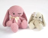 Crochet toy PATTERN - Amigurumi tutorial - Bunny rabbit with floppy ears - Stuffed animal - Baby toy tutorial - EN-007